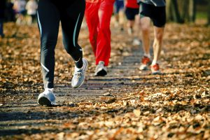 People running in the autumn race